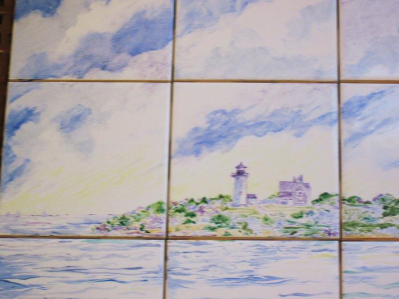 hand painted tile,cape cod,nobska light,susan davies tile,sailboats,wood hole