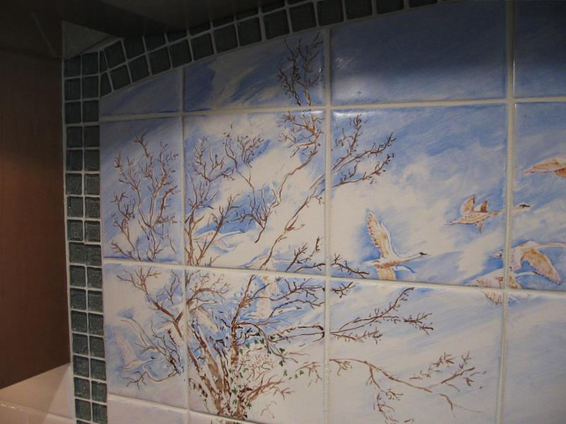 Custom Tile,handpainted,swans,cape cod,kiln fired,susan davies