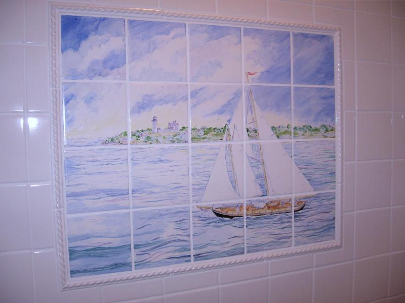 hand painted tile,tile mural,cape cod,lighthouse,sailboats,susan davies