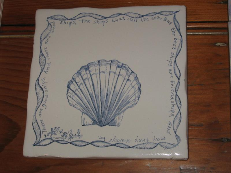 hand painted tile,scallop shell,cape cod,susan davies custom tile and fine art