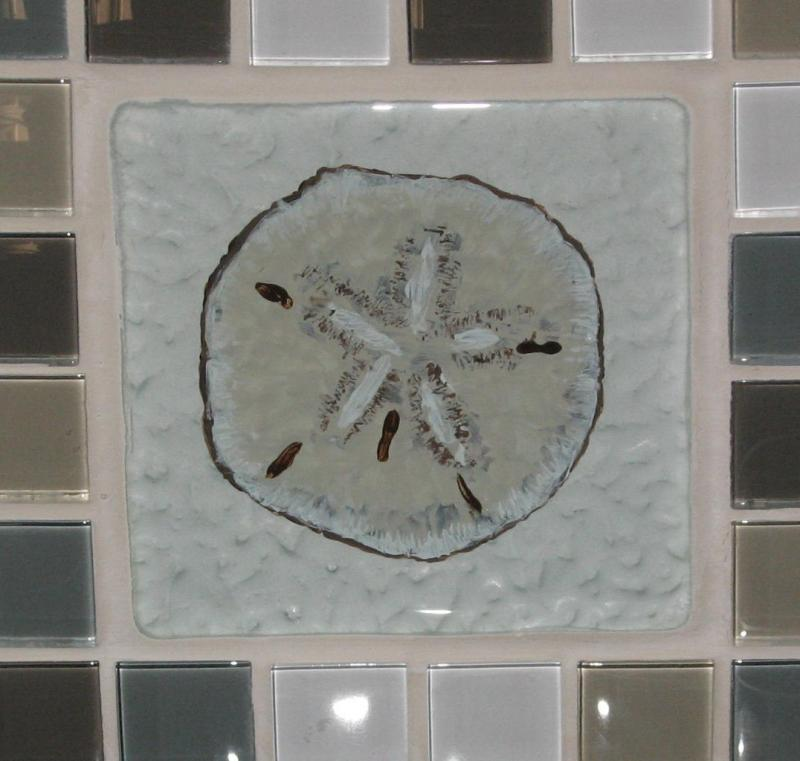 Sand dollar tile,glass tile,reverse glass painting,cape cod,shells,susan davies