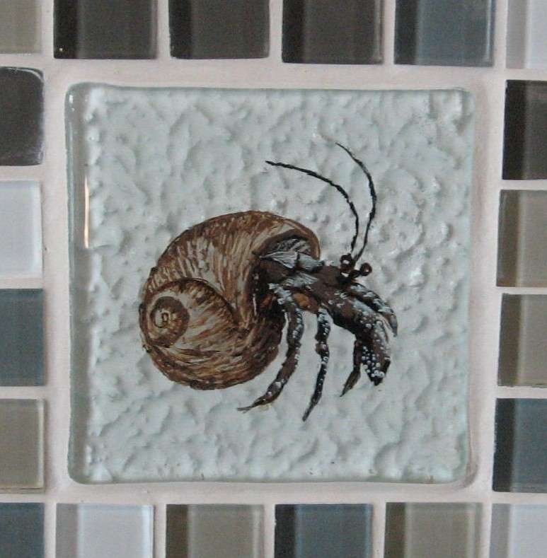 Hermit crab,capecod,glass tile,reverse glass painting,backsplash,capecod