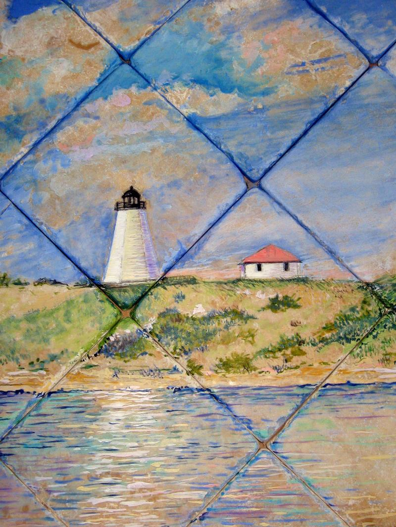 hand painted tile mural,cape cod,gurnet lighthouse,susan davies,kitchen backspla