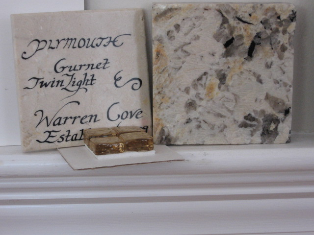 hand painted tile murals,cape cod,stone tiles,plymouth map,gurnet,susan davies