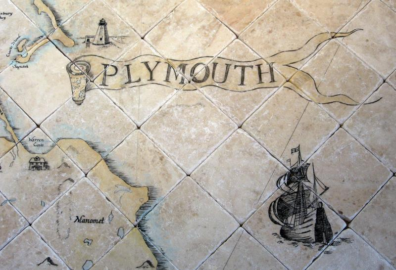 hand painted tile mural,cape cod,stone tile,plymouth map,susan davies,gurnet