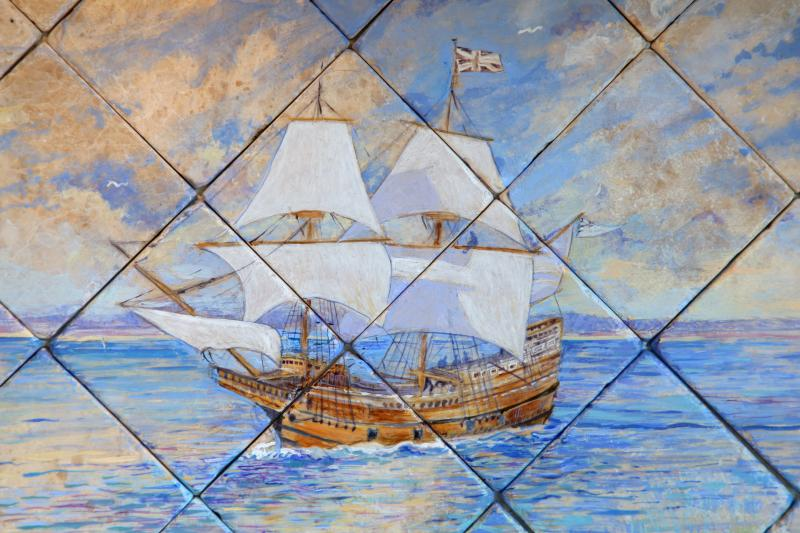Cape Cod, Mayflower Ship,Sailboat,Hand Painted Stone,Kitchen Backsplash