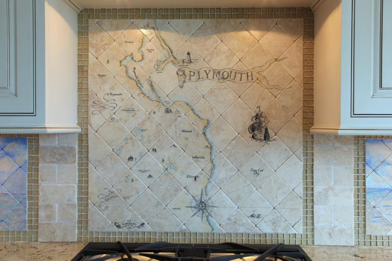 hand painted tile mural,cape cod,plymouth map,stone tile,kitchen backsplash