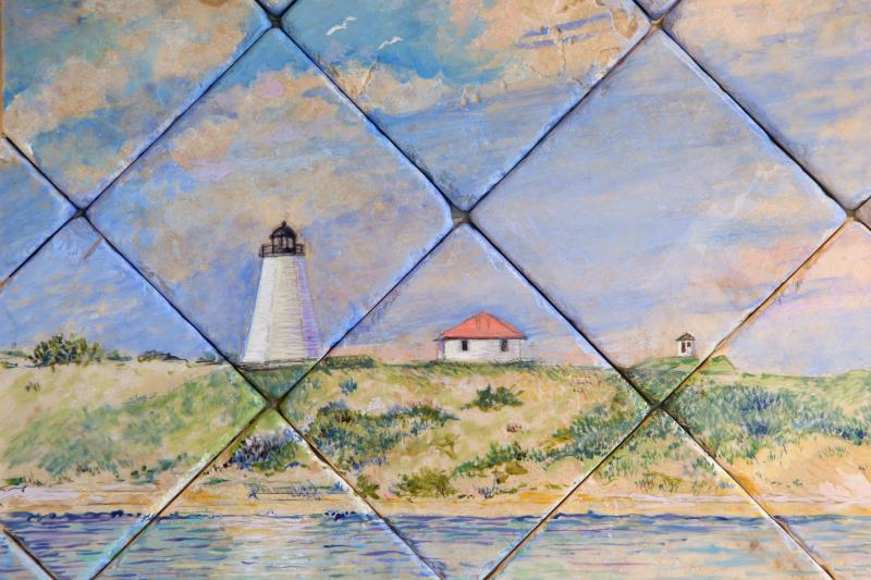 hand painted tile mural,cape cod,gurnet lighthouse,plymouth,susan davies tile