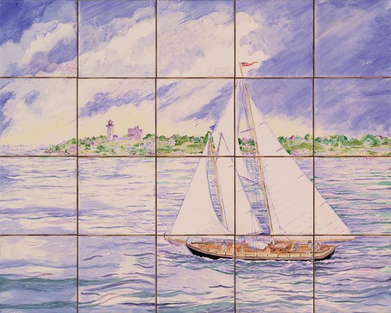 hand painted tile mural,ceramic tile,cape cod,sailboat,nobska light,susan davies