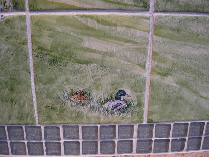 Coonamessett River,East Falmouth,Cape Cod,handpainted tile mural, susan davies