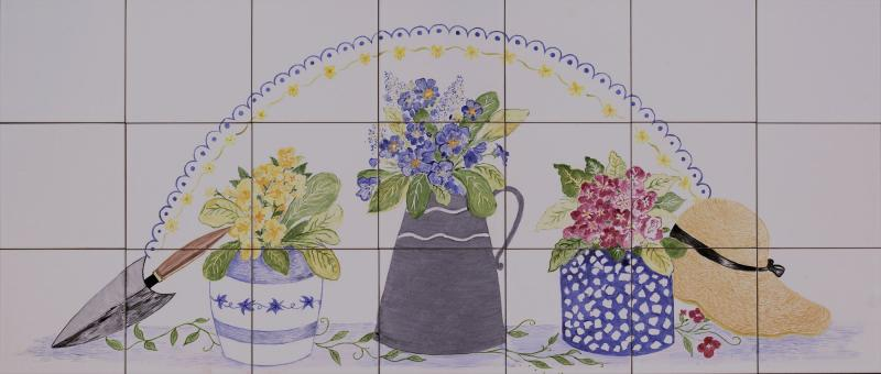 "Flower pots - 42 x18"" ceramic tile"