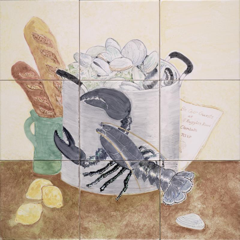 hand painted tile,cape cod,clambake,lobster,lighthouse,susan davies